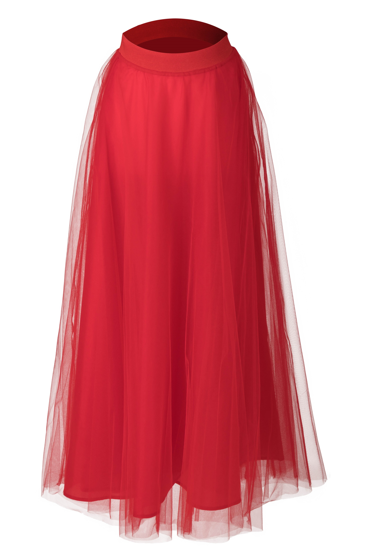 4ab0db16a97 ... červená Tylová maxi sukňa Long Laney