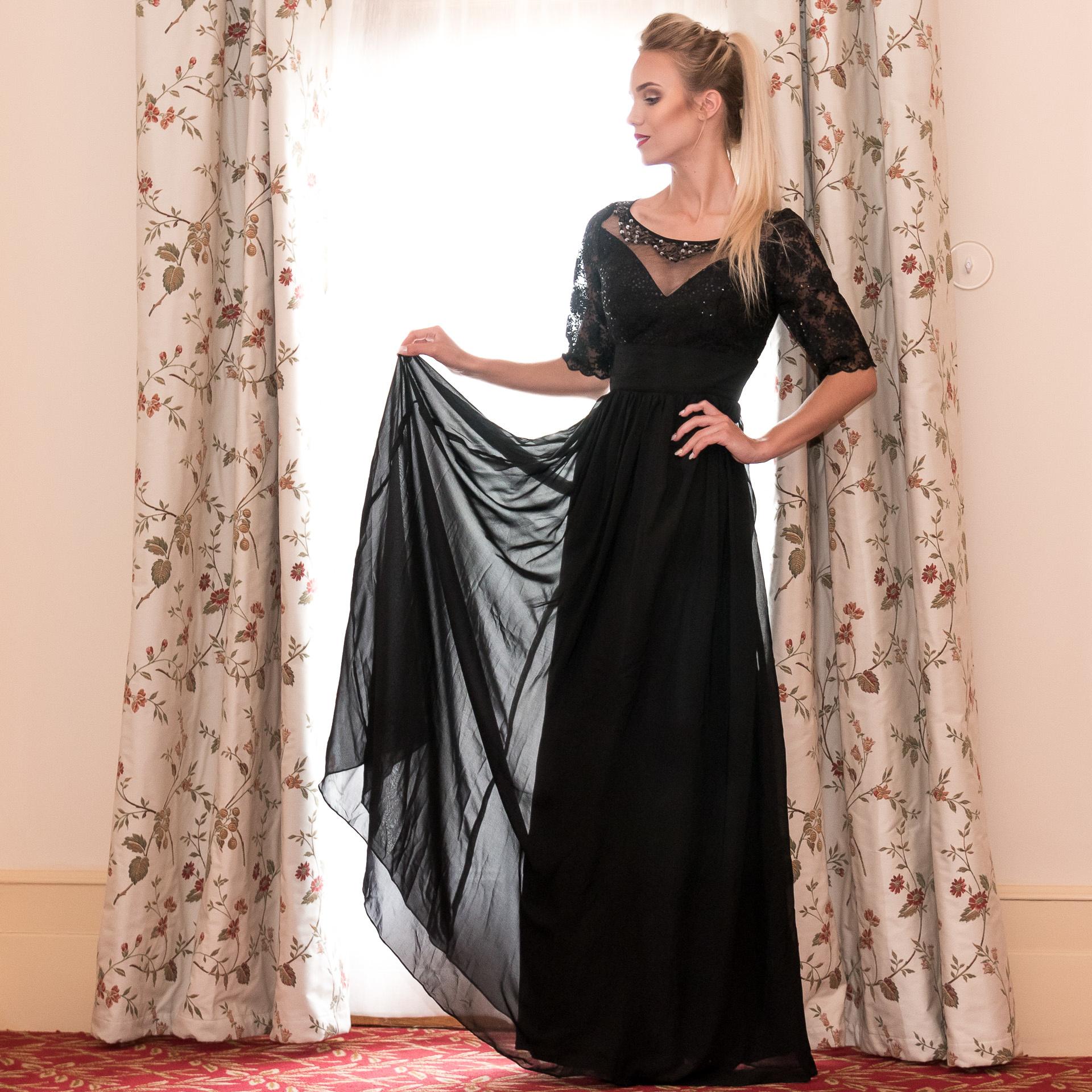 0839461f1004 ... čierne Ever-Pretty plesové šaty Night