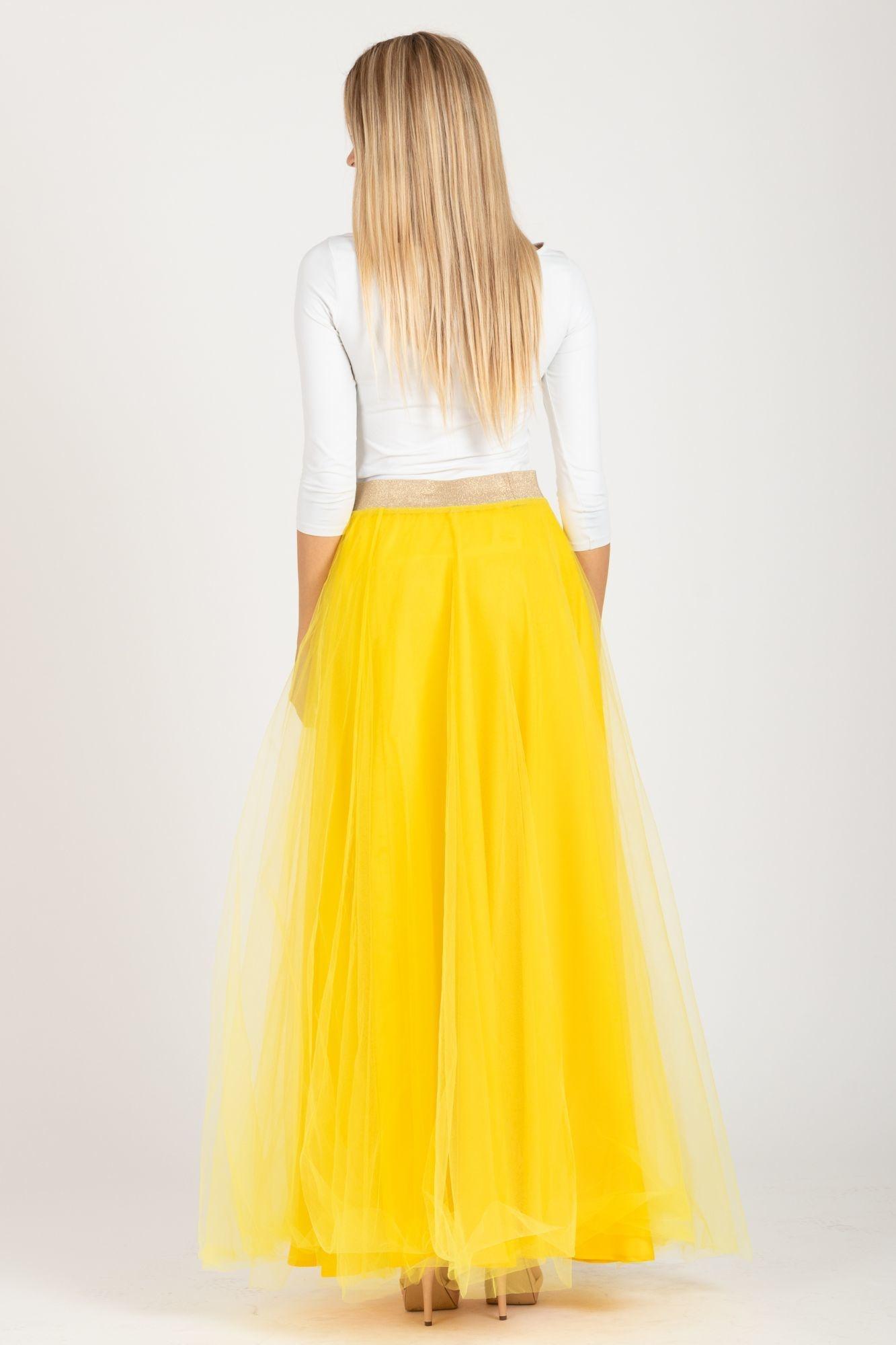 f57632018d4d ... žltá Tylová maxi sukňa Long Laney
