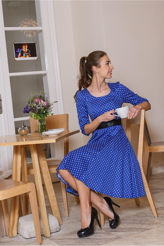 1485bb060 Retro šaty s bodkami Adele, modré - POSHme.cz