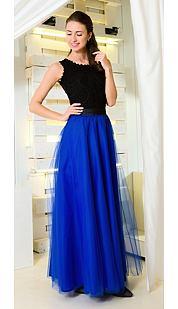 Tylová maxi sukňa Long Laney, modrá