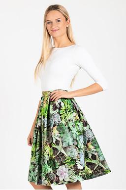 Midi sukňa Sukulenty, zelená