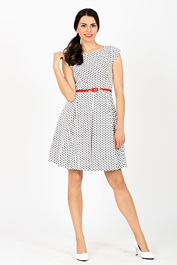 b3899651e Retro šaty Zrenička, biele s malými bodkami
