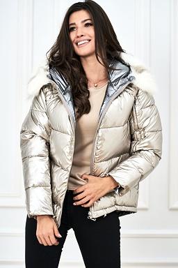 Oboustranná bunda Blesk, zlatá / stříbrná