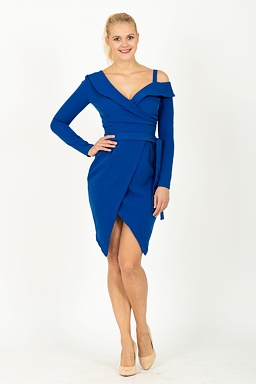 aa78b29fa4d0d Pouzdrové šaty Metamorfóza, modré