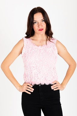 Čipkovaný top Loris, ružový