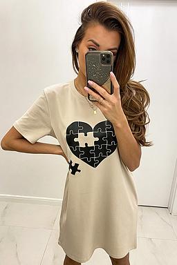Tričkové šaty Puzzle, béžové