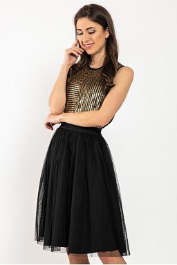 Tylová sukňa Lotus, čierna