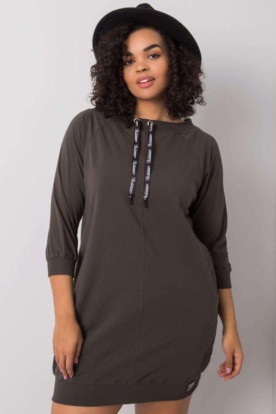 Plus size mikinové šaty Harriet, khaki
