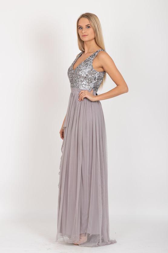 Exkluzívne plesové šaty Yasmin, sivé