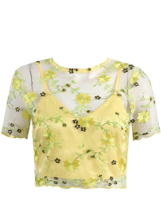 Čipkovaný crop top Kathy, žltý