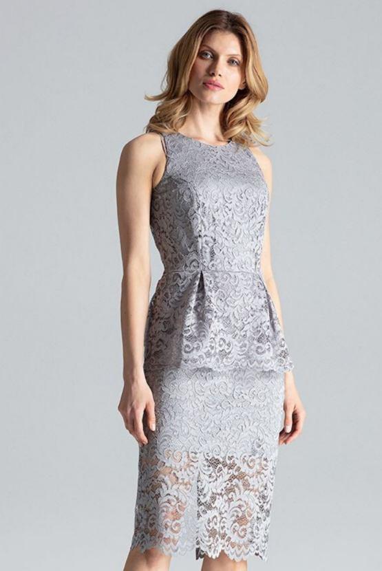 Čipkované šaty Mlhobranie, sivé