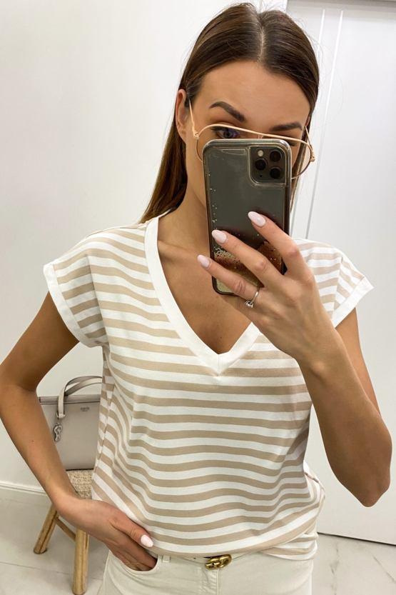 Tričko Coralinna, bílé s béžovými pruhy