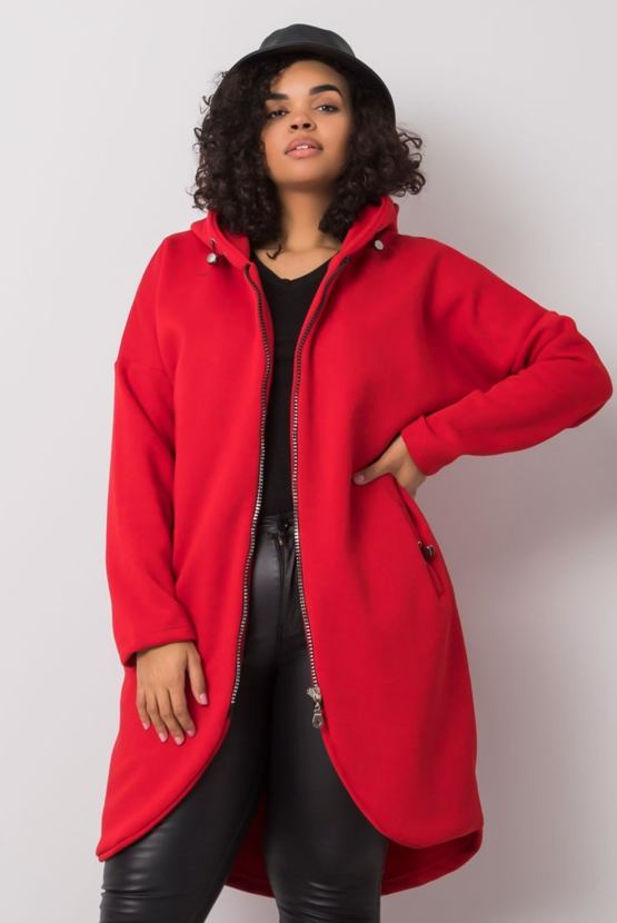 Plus size prodloužená mikina Laďka, červená