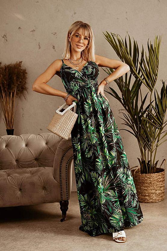 Maxi šaty Dcera džungle, zelené