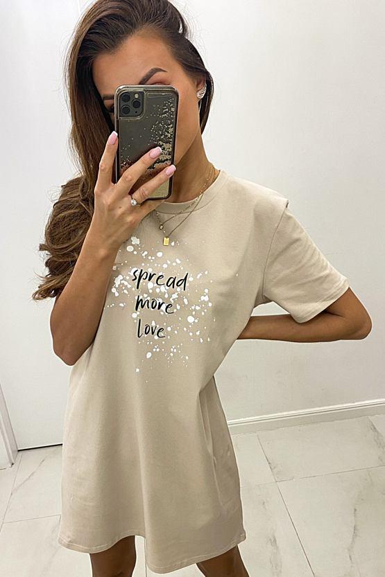 Tričkové šaty Spread Love, béžové