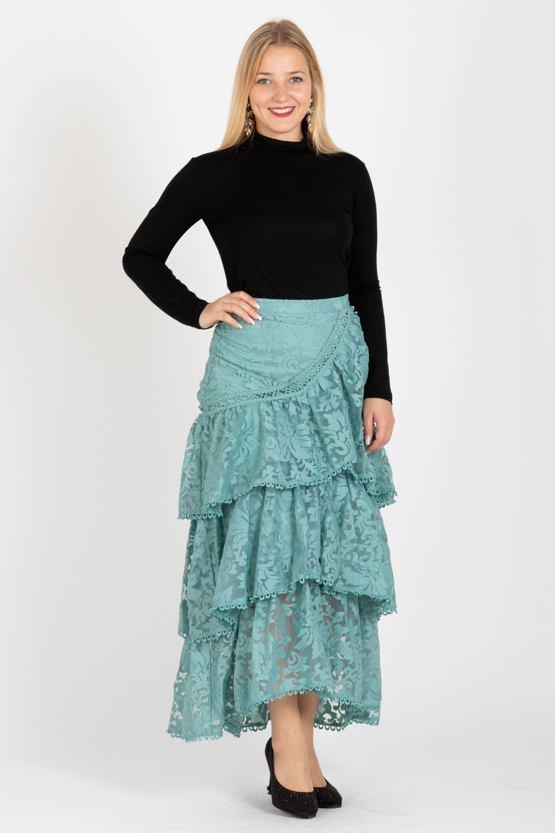 Čipkovaná sukňa Mercedes, mintová
