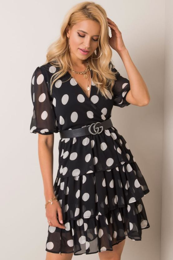 Puntíkaté retro šaty Dorotka, černé