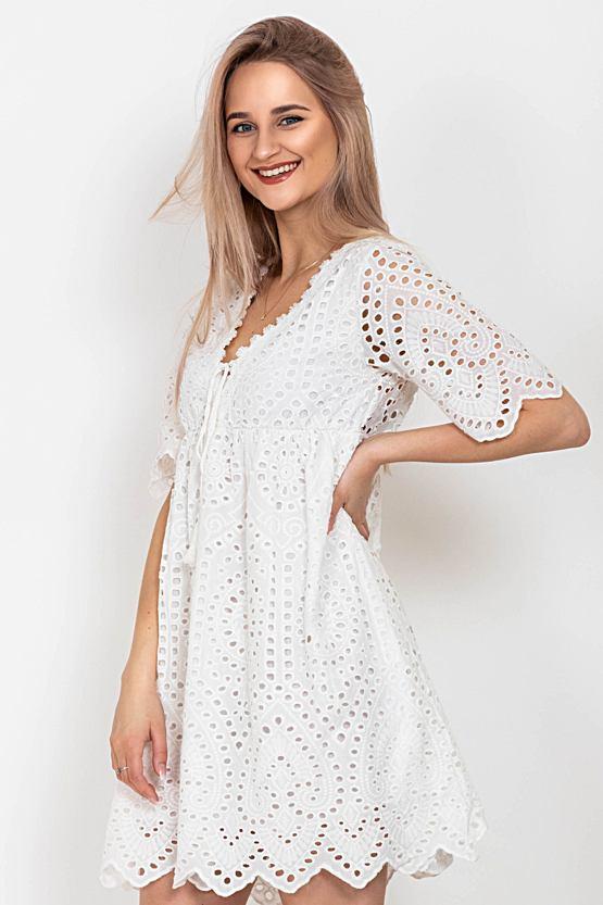 Boho šaty Nesmělá kopretina, bílé
