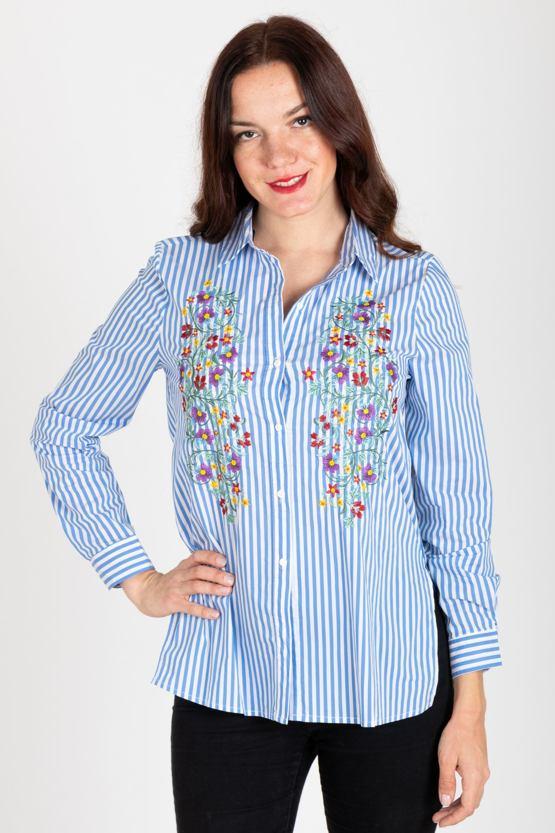 Košeľa s výšivkou Zoe, modrá