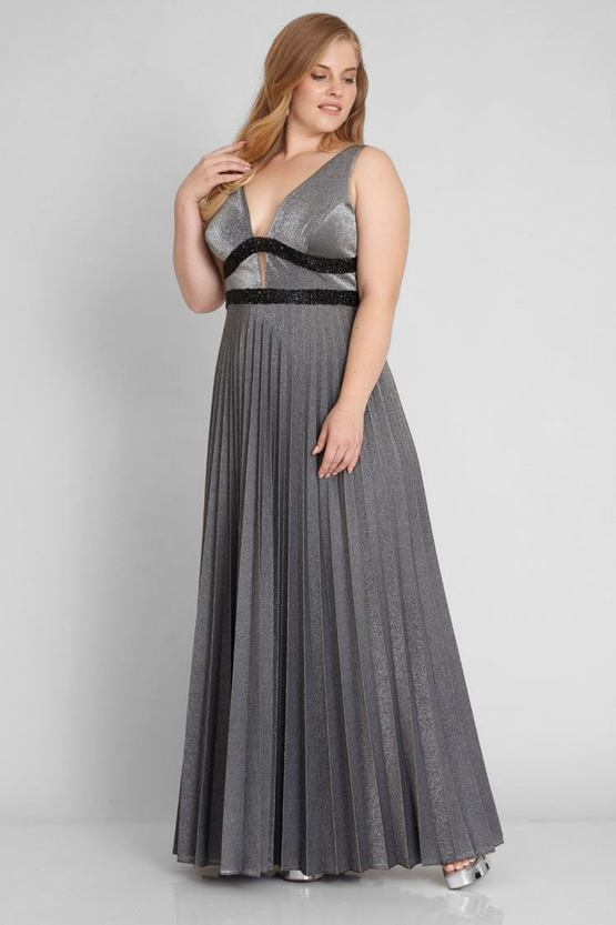 ab593e6a6d44 Plus size šaty Šero