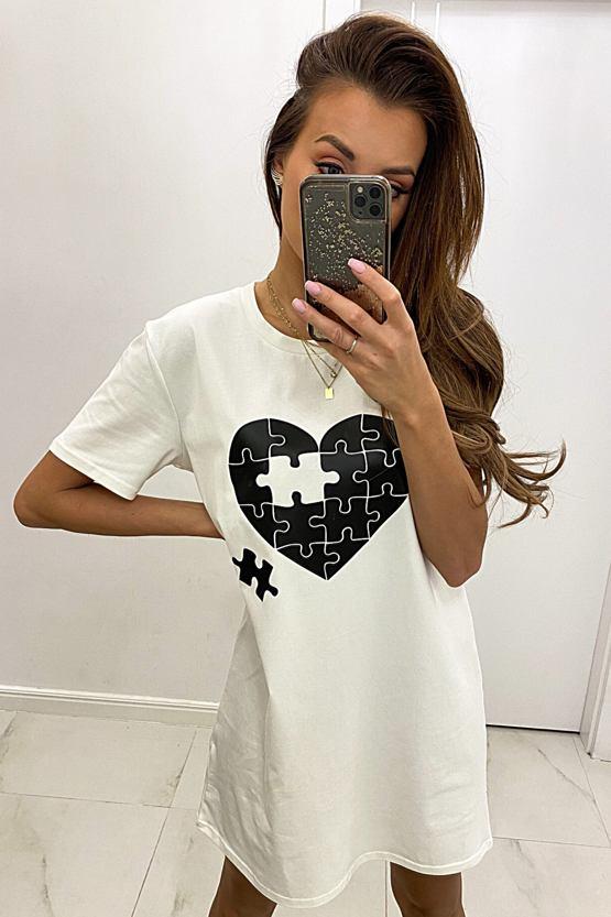 Tričkové šaty Puzzle, bílé