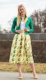 Midi sukňa Listonožka, zelenkavá