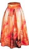 Midi sukňa Zamilované lístie, hnedá