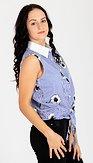 Košeľová blúzka s výšivkami Susie, modrá