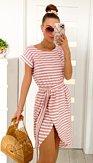Šaty Plážovky, bílé s růžovými pruhy